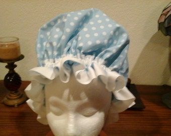 Fancy Shower Cap Blue and White Polkadot Cotton Lace Trim Fits EX Lg. Lg, Free Shipping