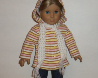Hooded Sweater, 18 Inch Doll,  Crochet Scarf, Striped Jacket, All Season Sweater, American Made, Girl Doll Clothes,