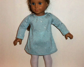 Long Sleeve Dress, 18 inch Doll, Sparkling Green,  Modern Easter Dress,  White Tights, American Made, Girl Doll Clothes, Special Occasion