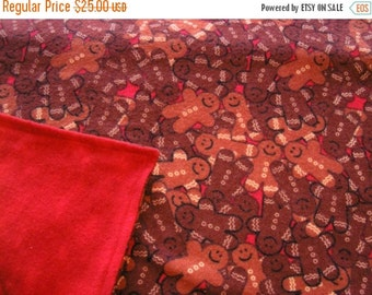 July Sale Christmas Baby Blanket Flannel Gingerbread Men Reversible Red Batik