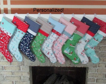 Personalized Christmas Stocking , Family Christmas Stockings , Quilted Stocking