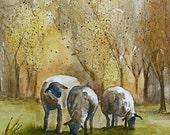 Folk art autumn painting fall decor fall wall hanging harvest room decor wall art painting Farm art 11x14 sheep art print picture gold rust