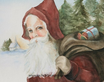 Christmas decoration christmas decor Vintage Santa painting Vintage Santa art PRINT Vintage Holiday decor gift grandma watercolor PRINT