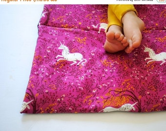 SALE Unicorn Nap Mat- Organic Denim with Purple Pink- Preschool Napmat- Non Toxic, Modern, Kids, Bedding