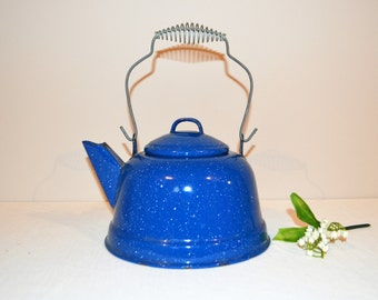 Vintage Blue Enamelware Tea Pot French Country