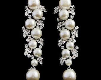 Bridal pearl earrings leaf pearl crystal drop wedding earrings 1930s vintage style crystal pearl drop wedding bridal earrings