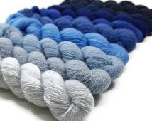 Gradient Yarn Set - Deep Blue Ocean - Gradient Yarn - Lace 1000 yrds