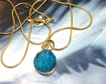 """Druzy Drop Necklace, Aqua Crystal, Gold plated edges, gold plated 18"""" snake chain, pendant jewelry"""