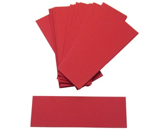 "Set of 6"" x 2"" Die Cut Long Paper Rectangles - Textured Primary Red (30pcs)"