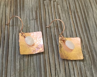 Moonlight Earrings -hand textured rose gold squares with moonstone beads. Handmade jewelry gift for her earrings