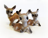 Vintage Deer Big Eye Fawns Figurines 1950/60 's W. Woolworth Co. price sticker on one Marked Japan  Home Decor Collectible  Stinkin Cute