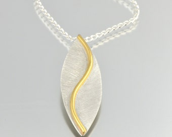 Mixed Metal Curved Leaf Necklace