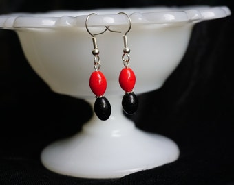 Black & Red Drop Earrings