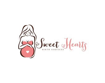 Doula Logo Design Birth Services Logo Pregnant Silhouette Birth Logo Design
