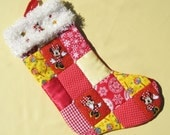 Patchwork Quilted Christmas Stocking Minnie Mouse Stocking Personalized Christmas Stocking Disney Christmas Stocking Red Christmas Stocking