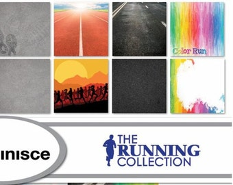 Reminisce The Running Collection Scrapbook Papers - Individual or Set | 5k | Race | Run | Track and Field