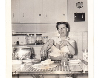 vintage Photo Cat Eye Glasses Woman Retro Kitchen home interior 1960s snapshot