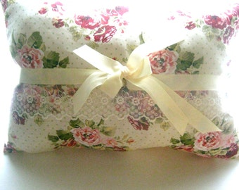 Complete Shabby Chic Style  Decorative Pillow Ribbons Roses Delicate Lace Ribbon Button Center Cottage Chic