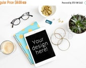 CLEARANCE SALE Styled Stock Photography, white desk w/ notebook, teal, gold, notebook, web design background, blogger image, social media im
