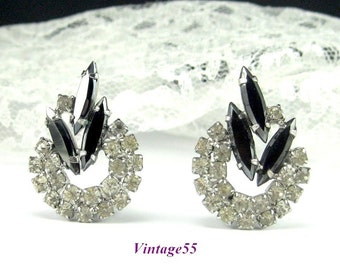 Earrings Rhinestone Black Navettes clip on