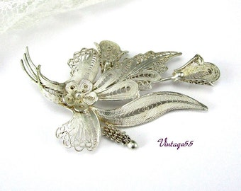 Calla Lily Brooch Silver Filigree wire work