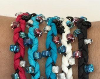DIY Silk Wrap Bracelet or Silk Cord Kit DIY Bracelet DIY Craft Kit Five Adult Friendship Bracelets in Red White Blue and Black Color Palette