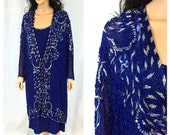 Vintage Royal Blue Beaded Dress and Jacket Set. 2X-Large. Long Sleeve. Formal. Wedding. Bridal. Cobalt. Sequins. Beads. Judith Ann. 1980s.