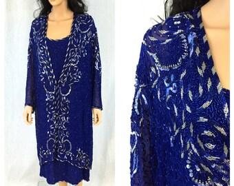 Vintage Royal Blue Beaded Dress and Jacket Set. 2X-Large. Long Sleeve. Formal. Wedding. Bridal. Cobalt. Sequins. Beads. Judith Ann. 1980s.