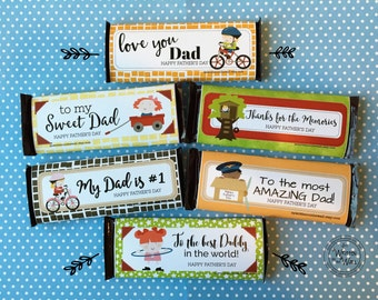 6 Fathers Day Chocolate Bar Wraps / Gift Ideas for Dad / Hershey Candy Chocolate Bars / Sweets for Dad / Party Favors / Candy Bar Wraps