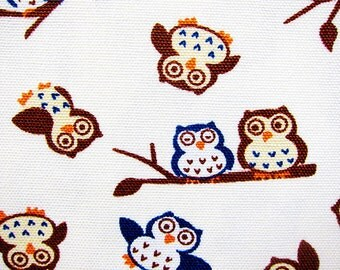 Animal Print Fabric - Cotton Fabric By The Yard Cotton Canvas - Owls on White - Half Yard