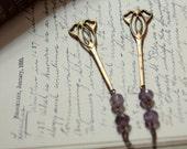 LIGHTNING SALE | Camillae. Bohemian Art Nouveau Vintage Brass and Amethyst Earrings.