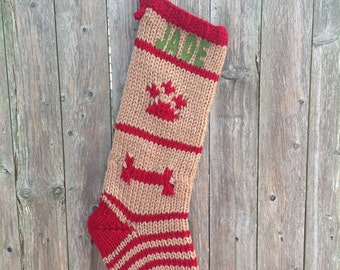 Dog Christmas Stocking- Knit Christmas Stocking for Dogs- Dog Stocking- Pet Christmas Stocking- Custom Christmas Stocking