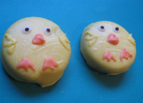 One dozen adorable baby chick chocolate covered sandwich cookie party favors