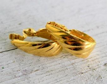 MONET Hoop Earrings Clip on Signed Gold Tone Vintage
