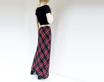 Vintage Plaid Skirt 70s Plaid Skirt Plaid Maxi Skirt Boho Plaid Skirt 1970s Tartan Skirt Vintage Plaid Maxi Maxi Fall Skirt xs, s