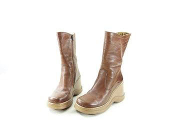 Brown Platform Boots, Vintage 7 1/2 Boots, 1990s Tan Boots, Calf High 90s Boots, 1990s Brown Boots, 1990s Grunge Boots, Size 7.5