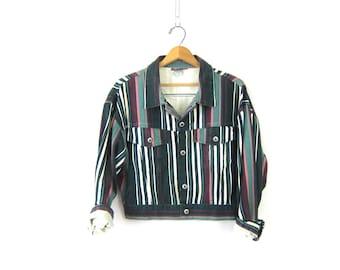 Cropped Green Striped Jean Jacket Coat Vintage Retro Hipster Preppy jacket Women's size Large