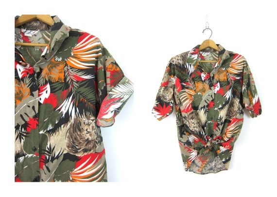Vintage 80s Animal Print Shirt Button Up Safari Jungle Tshirt Short Sleeve Tee 1980s Resort LIONS TIGERS Shirt Womens Medium Large