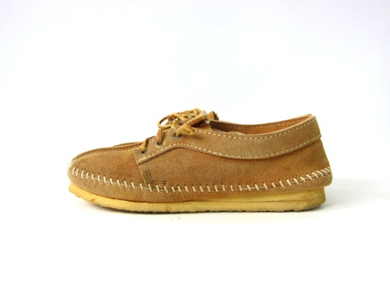 Leather Moccasins shoes Tan Brown Suede 1970s Booties Boho Southwestern Ankle Boots Slip On Lace Up Slippers Louanne's Vintage Womens size 7
