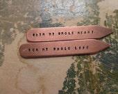 Custom Metal Hand Stamped Men's Collar Stays