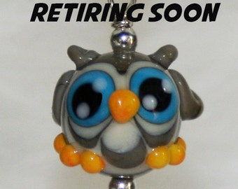 Adorable Grey Owl Lampwork Glass Necklace and Cell Charm