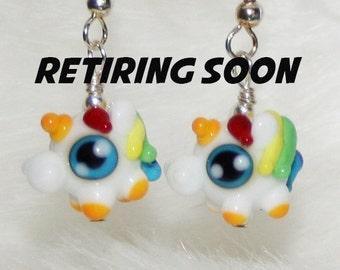 Rainbow Fat Unicorn Lampworked Glass Earrings