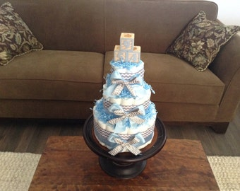 Blue grey chevron baby sHower Diaper Cake  Block Three tier cake other colors and sizes available too