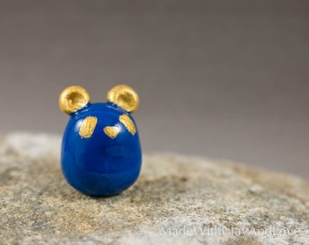 Little Panda Bear - Cobalt Blue And Gold - Miniature Terrarium Figurine - Hand Sculpted Miniature Polymer Clay Animal