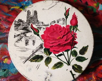 Vintage Notre Dame Souvenir Tin, De Met's Chicago,  IL, Red rose & Notre Dame lithographed tin,  Shabby Chic storage, Cottage tin