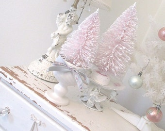 Vintage Style Bottle Brush Christmas Tree * Pink * Shabby Chic * Cottage * Flocked * Hull Planter