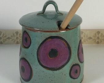 Handmade honey pot, honey jar, honey dipper, storage jar, unique gift, foodie gift, kitchenware, lidded pot, slotted lid