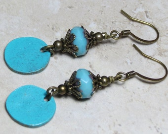 Blue Patina Glass Beaded Dangle Earrings, Czech Earrings, Drop Earrings, Boho Earrings, Bohemian Earrings, Unique Earrings, Gypsy Earrings