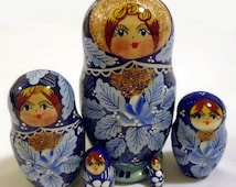 Blue Matryoshka Wooden Nesting Russian Wood Dolls Matriochka 5pc 10cm