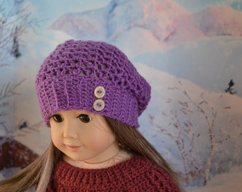 Doll Clothes - Boy or Girl Doll - Doll Beanie for 18 inch - Crocheted Slouch Beanie - Grape Purple - MADE TO ORDER - fits American Girl